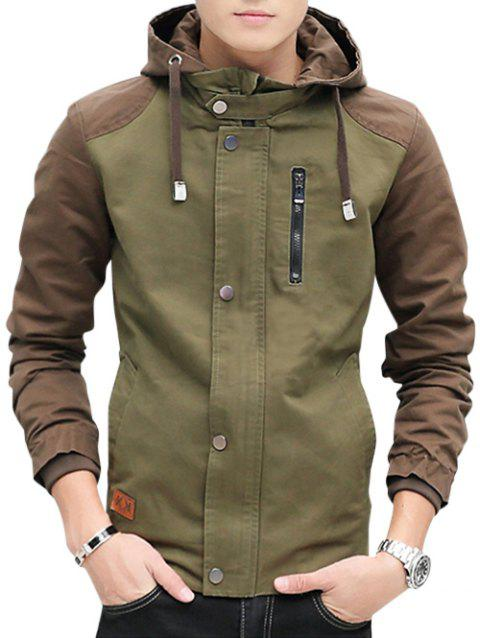 Contrast Color Zip Up Hooded Jacket - ARMY GREEN XL