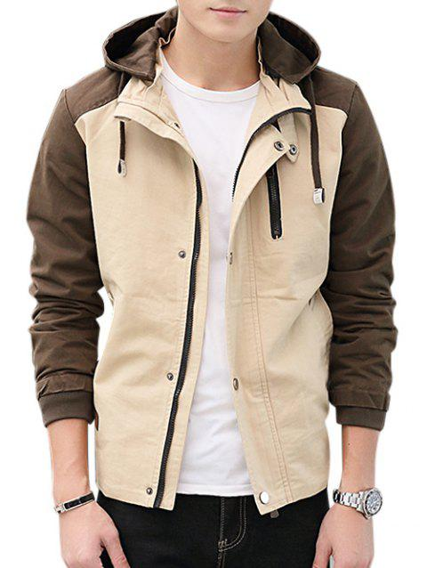 Contrast Color Zip Up Hooded Jacket - LIGHT KHAKI 2XL