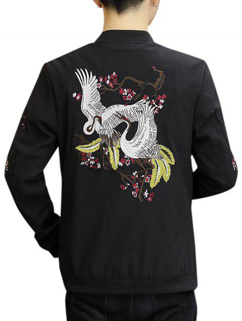 Embroidery Crane Zip Up Stand Collar Jacket - BLACK XL