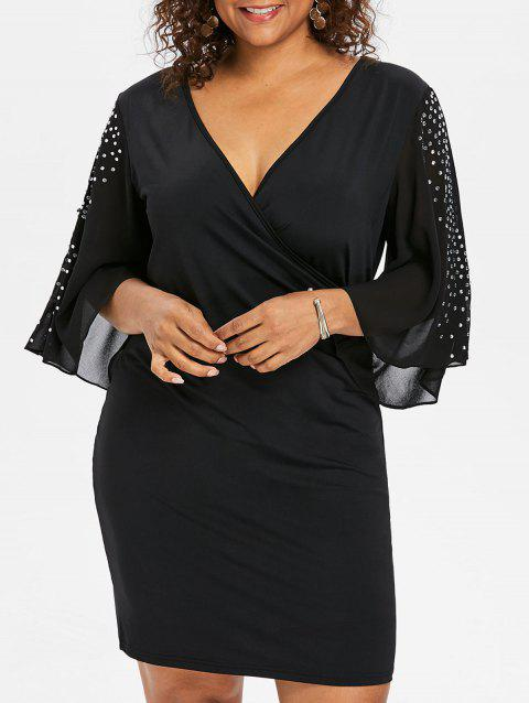 Plus Size Glittery Slit Sleeve Plunging Neck Dress - BLACK 3X