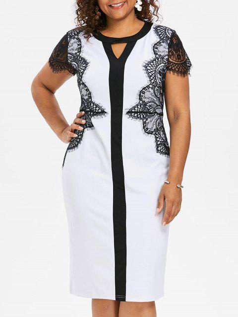 Lace Sleeve Plus Size Bodycon Dress - WHITE 1X