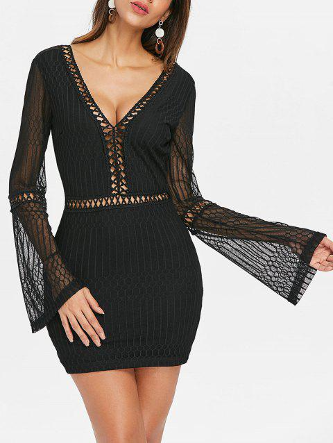 Flare Sleeve Backless Bodycon Dress - BLACK M