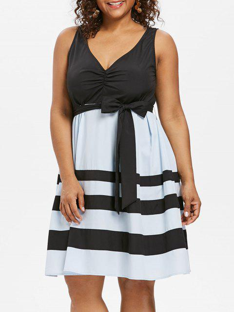 Plus Size Sleeveless Dress with Tie Belt - BLACK 5X