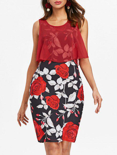 Sleeveless Floral Print Bodycon Dress - RED 2XL