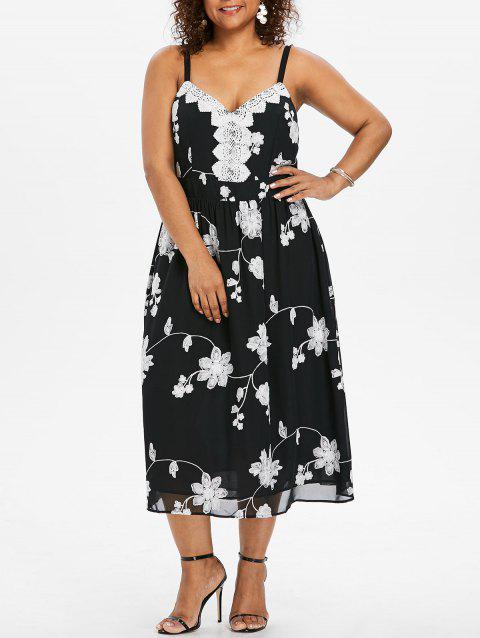 Plus Size High Waisted Floral Cami Dress - BLACK 1X