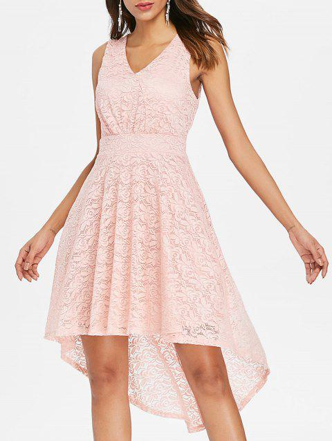 V Neck Sleeveless Asymmetrical Lace Dress - LIGHT PINK XL