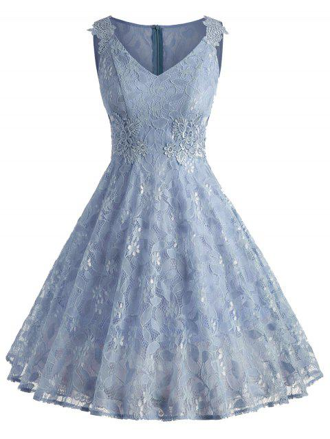 Sleeveless A Line Full Lace Dress - BLUE ANGEL L