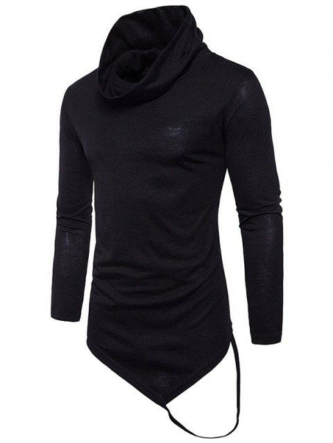 Pile Heap Collar Irregular Hem Solid Color Long Sleeve T-shirt - BLACK M
