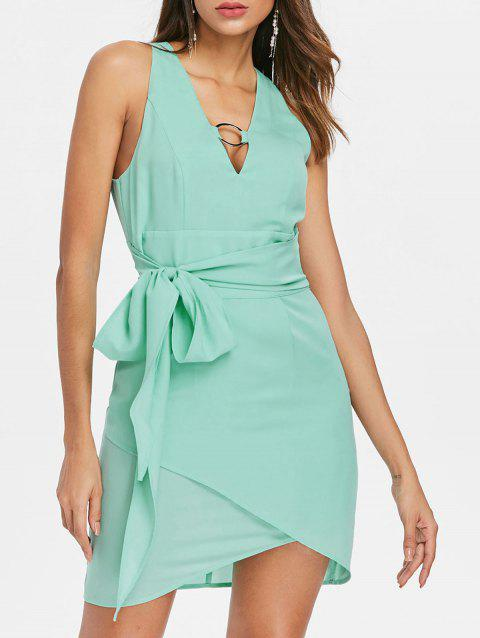 Deep V Neck Chiffon Belted Dress - AQUAMARINE S