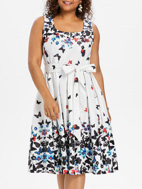 Plus Size Butterfly Print Sleeveless A Line Dress - WHITE 3X