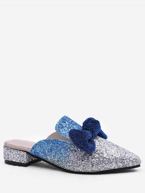 Plus Size Sequins Chunky Heel Pointed Toe Mules Shoes - LIGHT SLATE BLUE 38