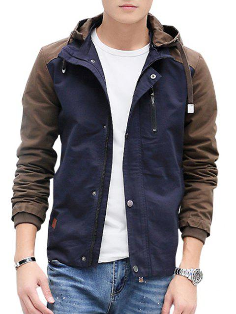 Contrast Color Zip Up Hooded Jacket - DEEP BLUE M