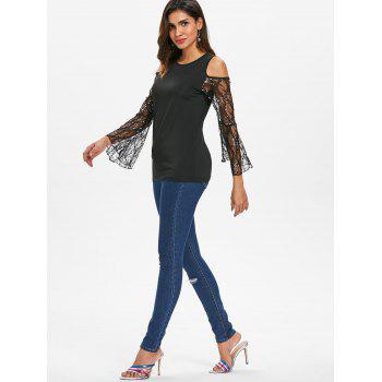 Lace Bell Sleeve Round Neck Top - BLACK S