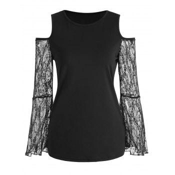 Lace Bell Sleeve Round Neck Top - BLACK M
