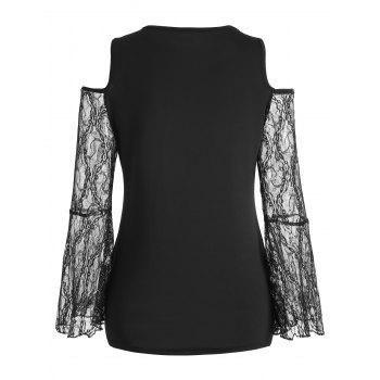 Lace Bell Sleeve Round Neck Top - BLACK XL
