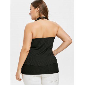 Plus Size Glittering Open Back Halter Tank Top - BLACK 3X