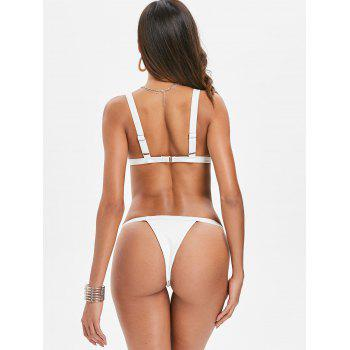 Ribbed Thong Bikini Set - WHITE L