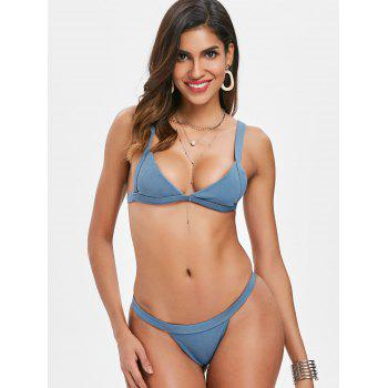 Ribbed Thong Bikini Set - BLUE IVY S