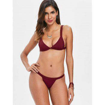 Ribbed Thong Bikini Set - RED WINE L