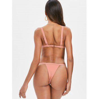 Ribbed Thong Bikini Set - ORANGE PINK L