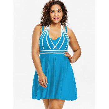 Plus Size Color Block Halter One Piece Swimwear - BUTTERFLY BLUE 1X