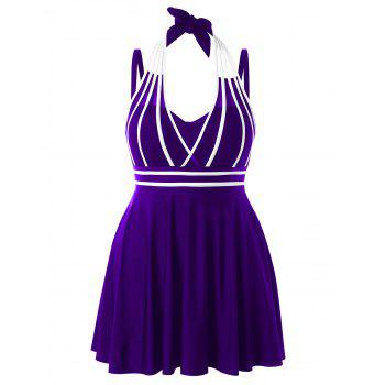 Plus Size Color Block Halter One Piece Swimwear - PURPLE IRIS 3X