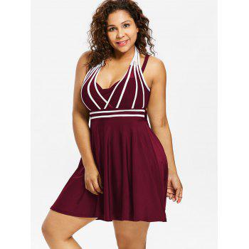 Plus Size Color Block Halter One Piece Swimwear - RED WINE 3X