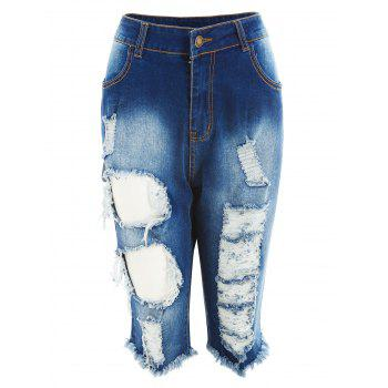 Zipper Fly Distressed Denim Shorts - JEANS BLUE M