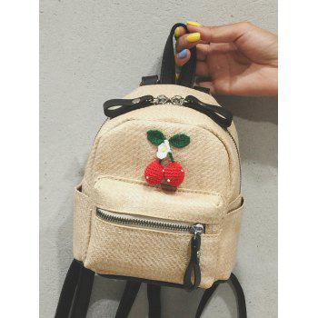 Outdoor Vacation Straw Cherry Pattern Travel Backpack - LIGHT KHAKI