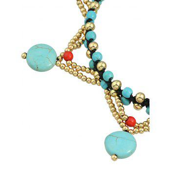 Bohemian Artificial Gemstone Joint Beaded Anklet - GREEN