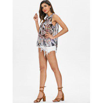 Feather Print Button Up Tank Top - multicolor S