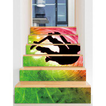 Cool Printed Decorative Stair Decals - multicolor 6PCS:39*7 INCH( NO FRAME )