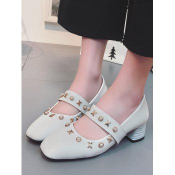 Plus Size Block Heel Faux Pearls Metal Chic Pumps - WHITE 40