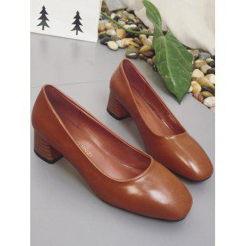 Plus Size Casual Block Heel Square Toe Pumps - BROWN 39
