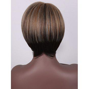 Short Inclined Fringe Straight Capless Colormix Synthetic Wig - multicolor