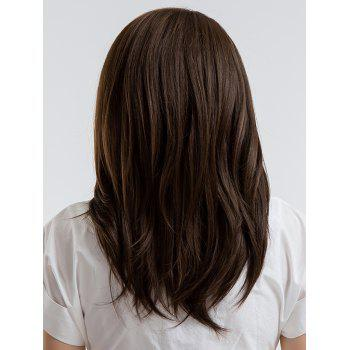 Oblique Fringe Long Straight Synthetic Wig - COFFEE