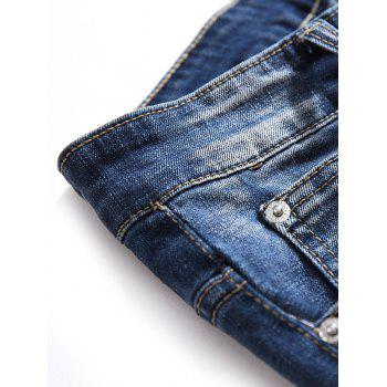 Crowned Crane Leaves Embroidery Hole Patches Jeans - BABY BLUE 34
