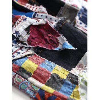 Colorful Fabric Spliced Buttons Fly Jeans - multicolor 36