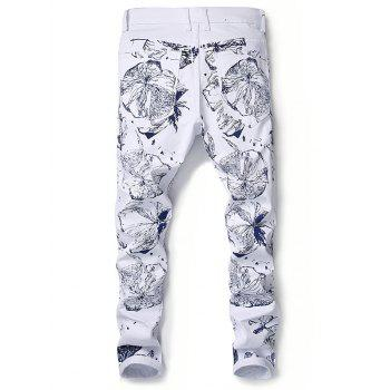 Floral Print Zipper Fly Slimming Narrow Feet Jeans - WHITE 32