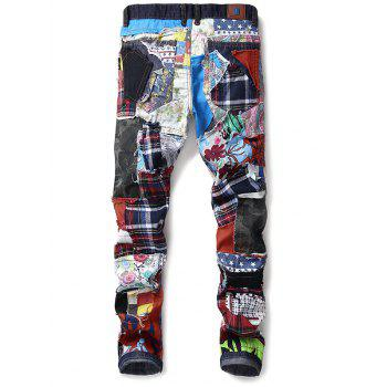 Colorful Fabric Spliced Buttons Fly Jeans - multicolor 32