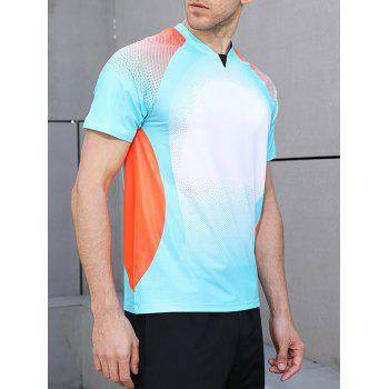 Quick Dry Square Print Sports T-shirt - BLUE LAGOON 2XL