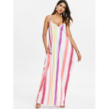 Striped Color Block Floor Length Dress - multicolor A S