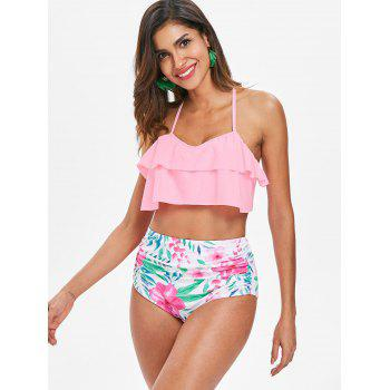 High Waisted Flower Bikini Set - PIG PINK XL