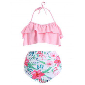 High Waisted Flower Bikini Set - PIG PINK 2XL