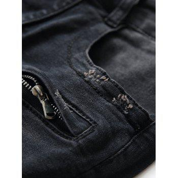 Patchwork Pleated Tapered Biker Jeans - BLACK 34