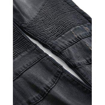 Patchwork Pleated Tapered Biker Jeans - BLACK 38