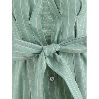 Plunge Striped Dress with Belted - GREEN XL