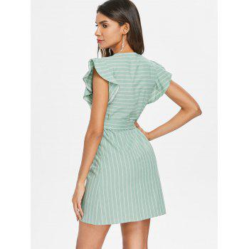 Plunge Striped Dress with Belted - GREEN M