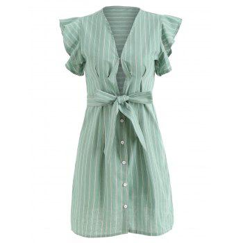 Plunge Striped Dress with Belted - GREEN L