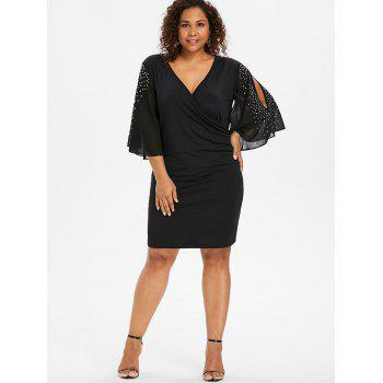 Plus Size Glittery Slit Sleeve Plunging Neck Dress - BLACK 2X